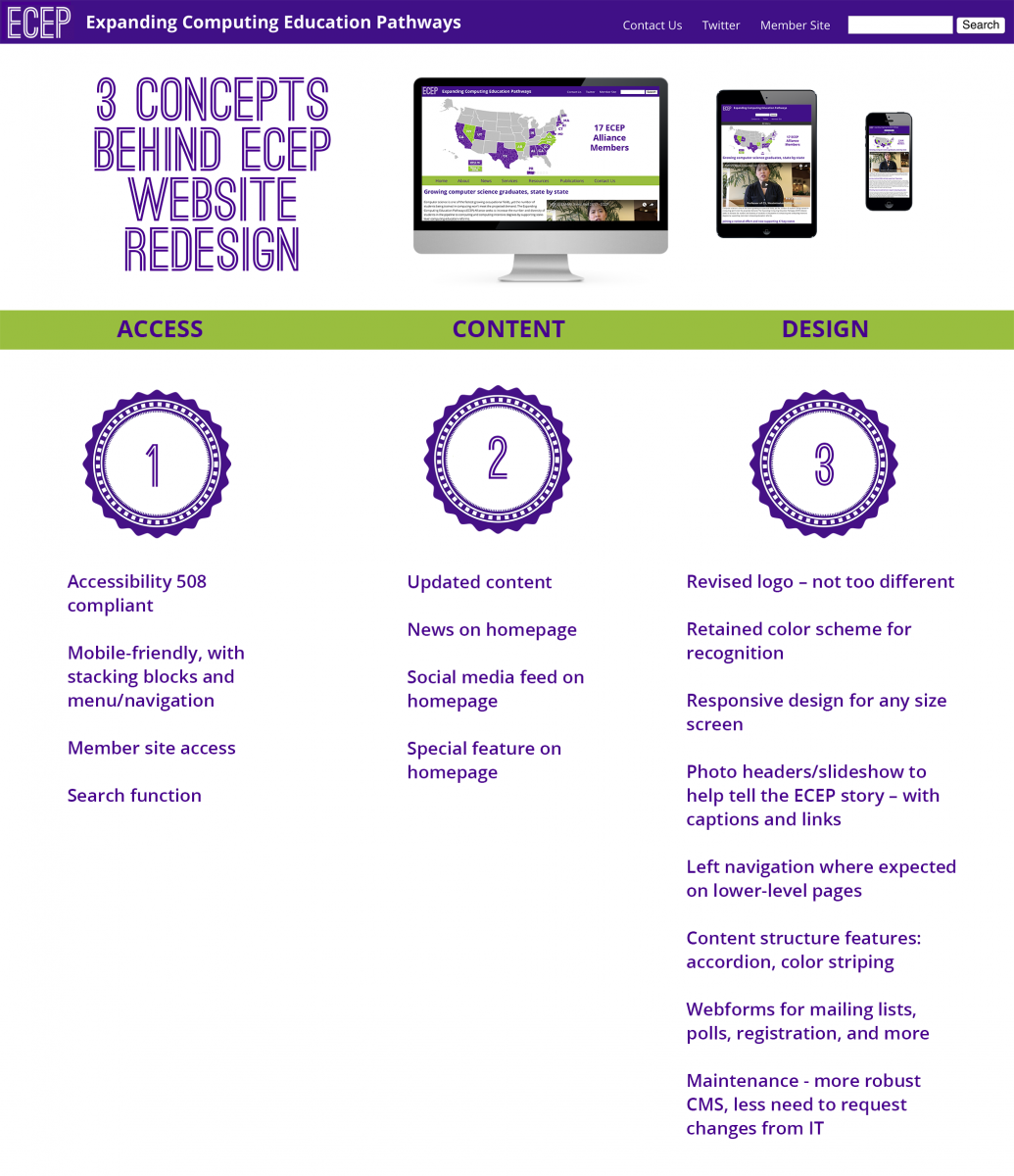 3 concepts behind website redesign: access, content, design